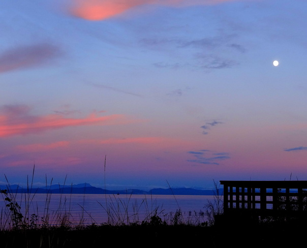 The moon and the pier Royston, British Columbia Canada