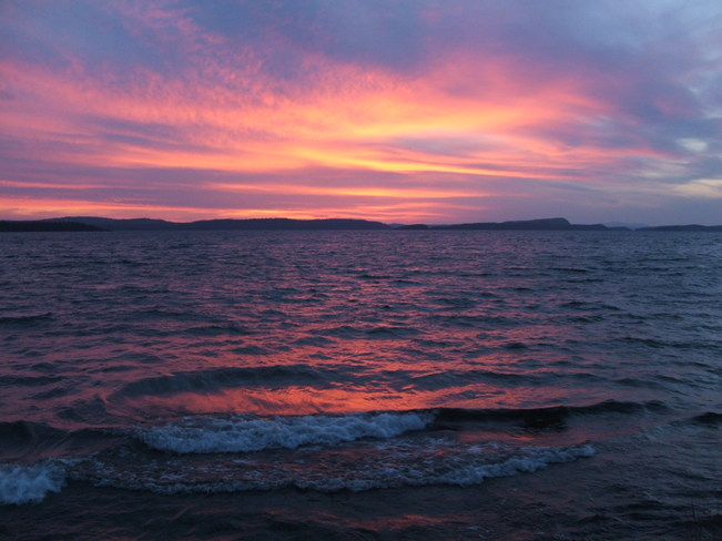 A fall sunset over Lake Superior Rossport, Ontario Canada
