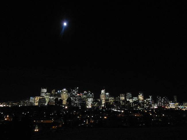 crescent heights at night.Walk in the park with lights. Calgary, Alberta Canada