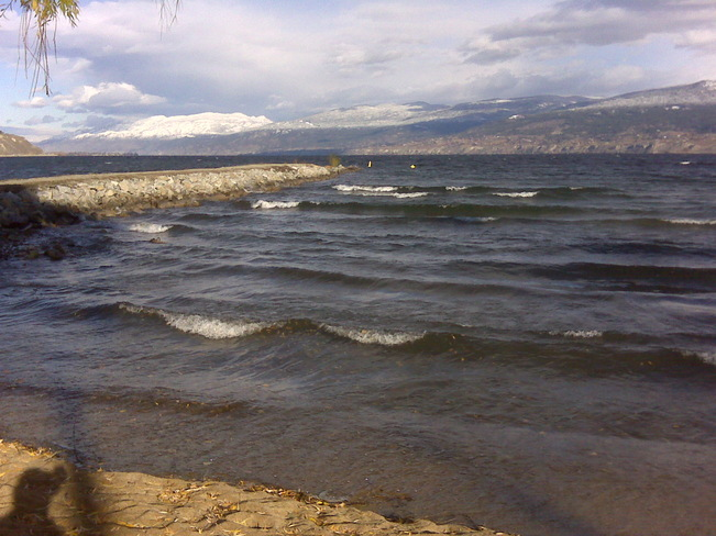 Cool sunny and windy in town Penticton, British Columbia Canada