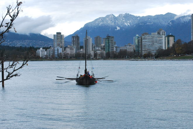 Viking Ship coming in to shore Vancouver, British Columbia Canada