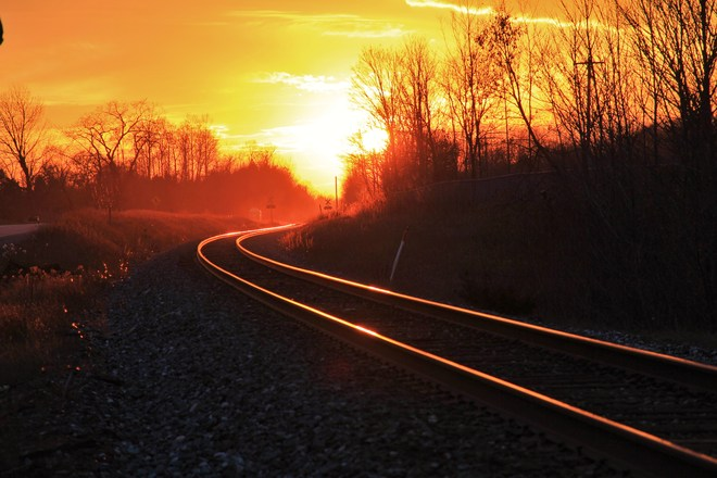 Fire on the rails Barrie, Ontario Canada