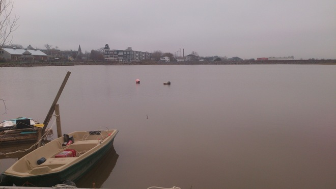 High Tide with Row Boat in Wolfville Wolfville, Nova Scotia Canada