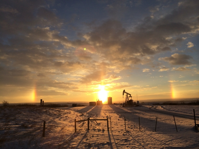 Sun dogs at sunrise Cochrane, Alberta Canada