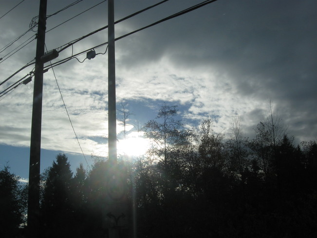 wires & sun rays Surrey, British Columbia Canada