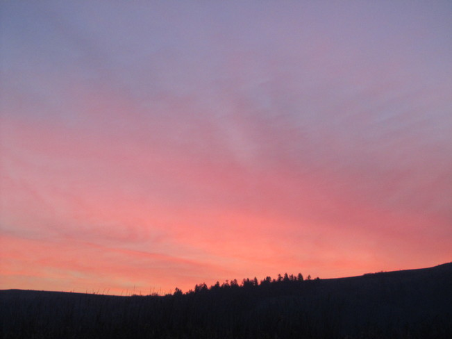 red skyline this morning Vernon, British Columbia Canada