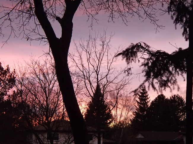 sunset over Bel Air Dr. Bolton, Ontario Canada