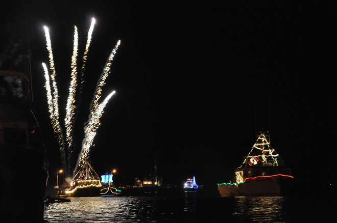 Boats decorated for Christmas Yarmouth, Nova Scotia Canada