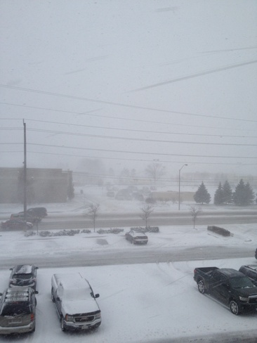 snow squalls Barrie, Ontario Canada