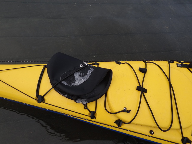 Ice on the kayak cover doesn't detour a trek to work Comox, British Columbia Canada