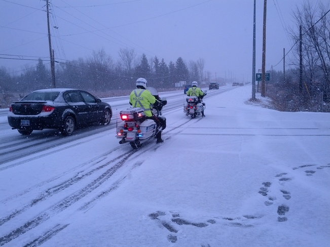 OPS Motorcycles in Snowstorm Ottawa, Ontario Canada