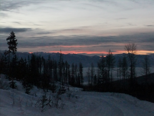 sunrise from the snowy mountain Fauquier, British Columbia Canada