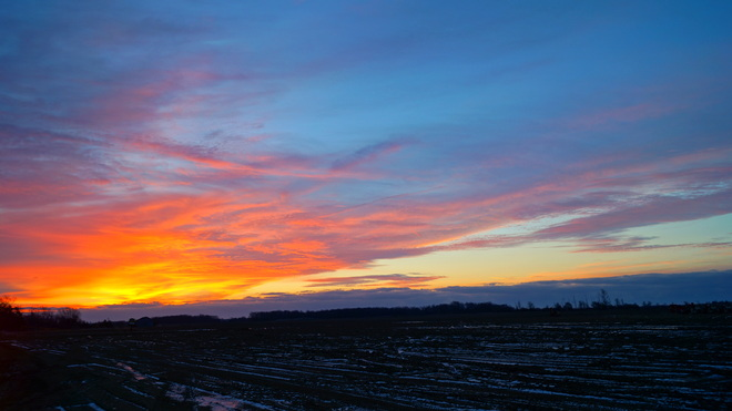Dawn from Airport Road, East of Mount Hope Hamilton, Ontario Canada