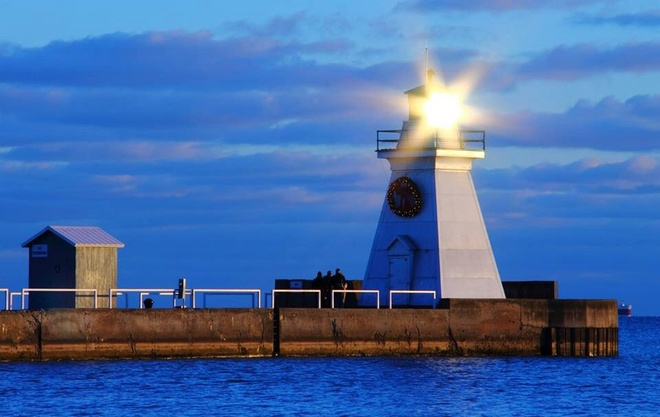Setting Sun in the Lighthouse Port Dover, Ontario Canada