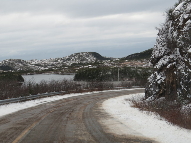 snow on the road Rock Harbour, Newfoundland and Labrador Canada