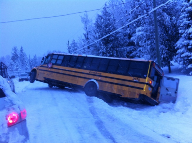 bus in the ditch Cantley, Quebec Canada