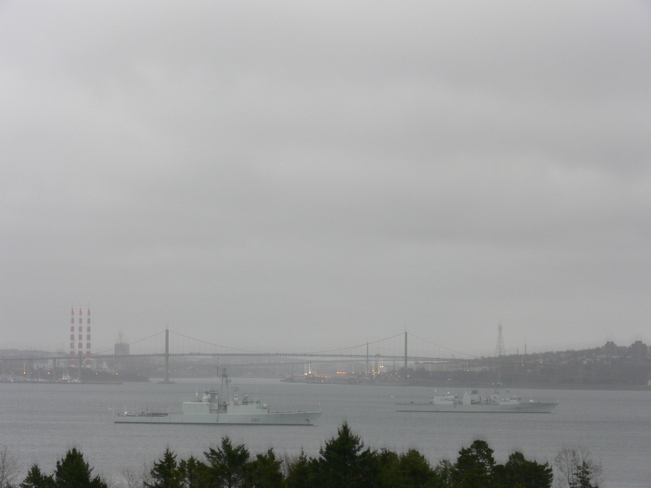 Riding out the storm in Bedford Basin Halifax, Nova Scotia Canada