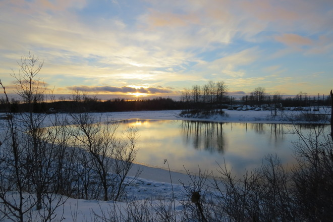 Mattagami River is freezing Timmins, Ontario Canada