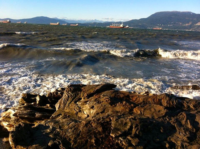 Rough seas on a sunny day Vancouver, British Columbia Canada