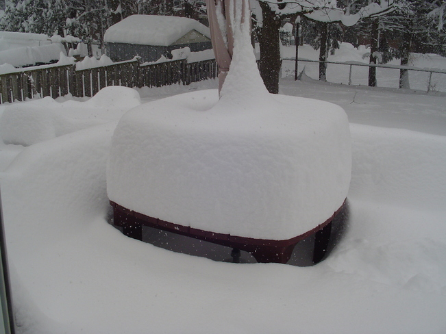 A picture of our deck after a 24 inches snowfall. London, Ontario Canada