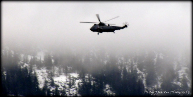 Helicopter, Low Clouds Nelson, British Columbia Canada