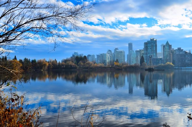 City Views from Lost Lagoon Vancouver, British Columbia Canada