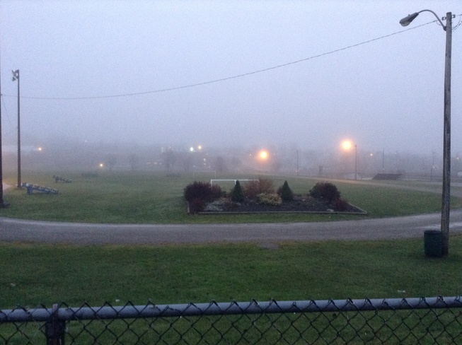 Neville Park during foggy day Sydney, Nova Scotia Canada