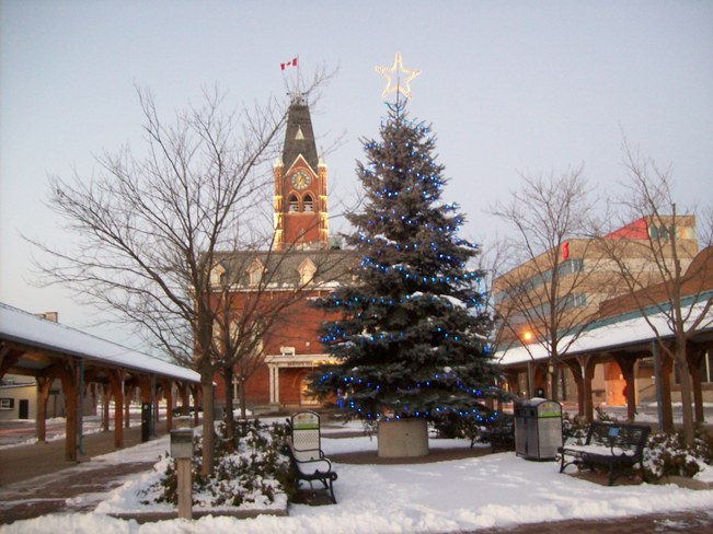 Beautiful 7am morning 2 days after the snowfall on Market square making things v Belleville, Ontario Canada