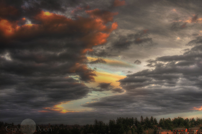 Stormy sky at sunset View Royal, British Columbia Canada