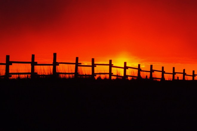 sunset fence Sea View, Prince Edward Island Canada