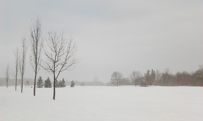 Foggy start to the day Nepean, Ontario Canada