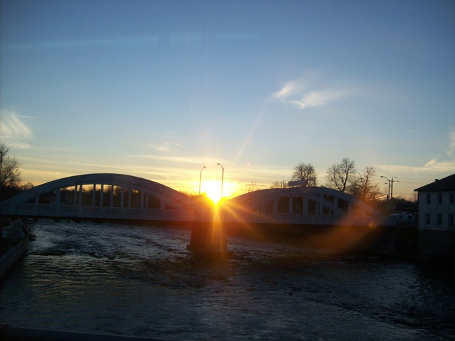 Lovely December evening with the sun behind this Front street Bridge Belleville, Ontario Canada