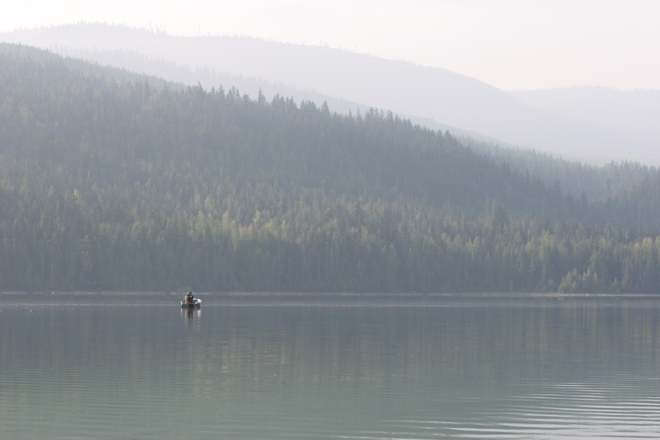 Fishing in the smoke Enderby, British Columbia Canada