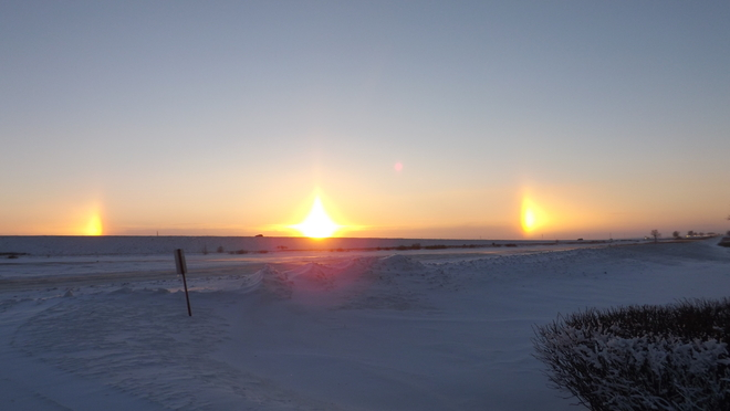 Sun Dogs at Sunset Belle Plaine, Saskatchewan Canada