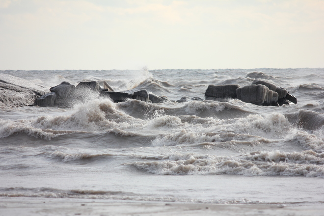 Breezy day at the beach Port Stanley, Ontario Canada
