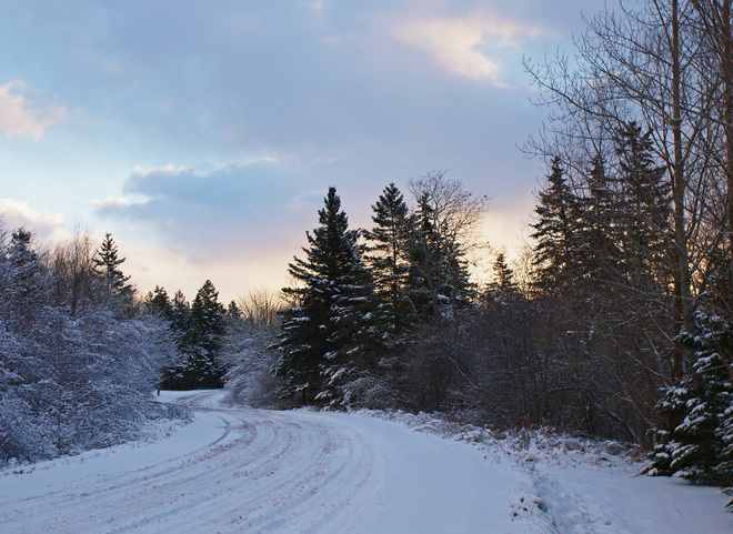 Snowy Road in Early Morning Tusket, Nova Scotia Canada