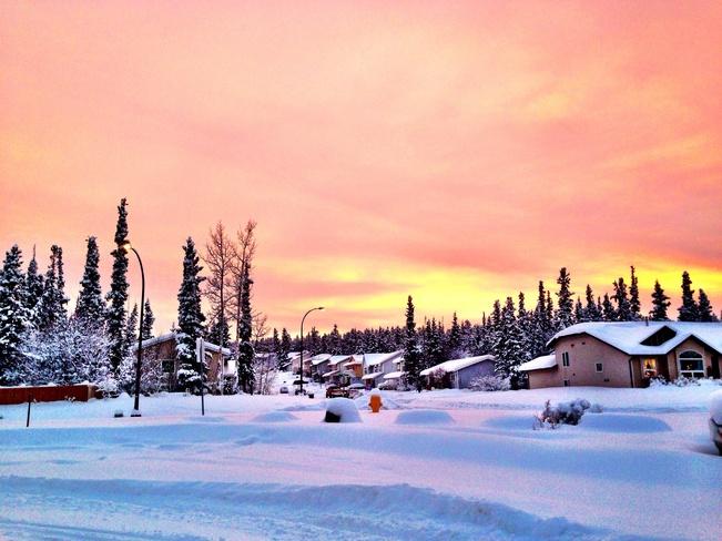 snowy sunset in granger Whitehorse, Yukon Canada