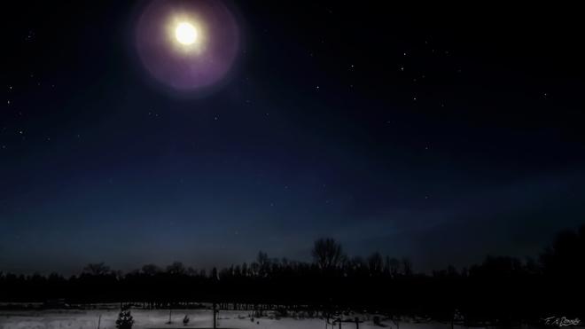 Frigid Night, Illuminated Snow Smiths Falls, Ontario Canada