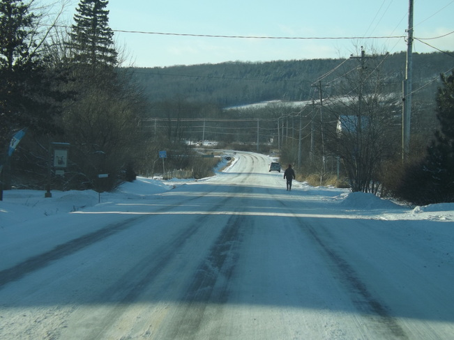 snowy roads from sea-effect Wolfville, Nova Scotia Canada