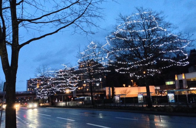Christmas street lights West Vancouver, British Columbia Canada