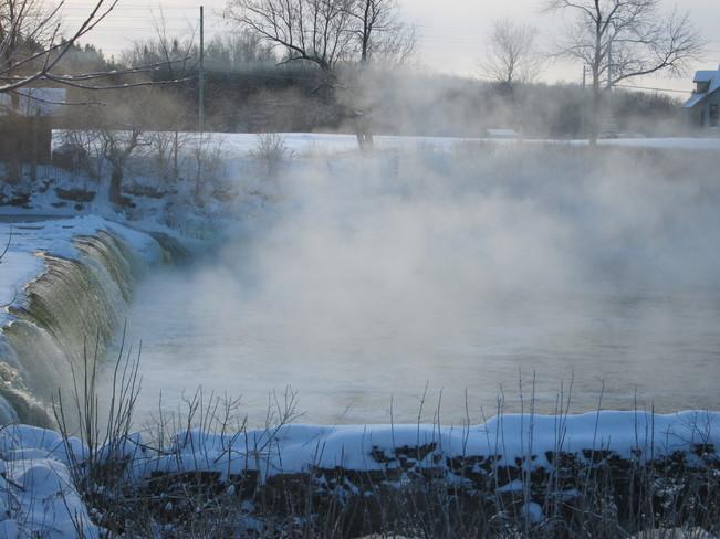frozen mist over Latta Dam Latta, Ontario Canada