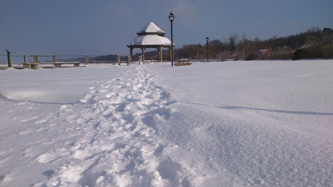 Wolfville Waterfront Park after 1st storm of 2013 Wolfville, Nova Scotia Canada