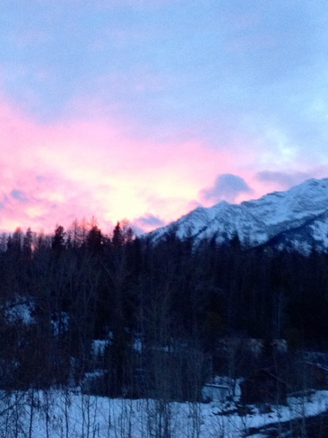Pink sky at night! Hosmer, British Columbia Canada