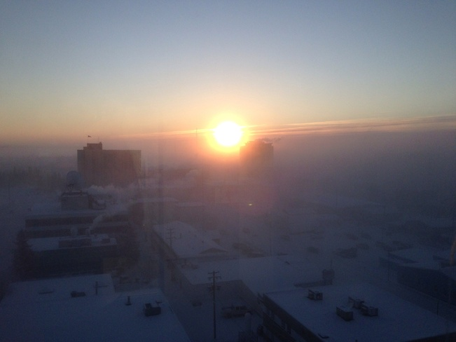 ice fog during a -55C windchill Yellowknife, Northwest Territories Canada