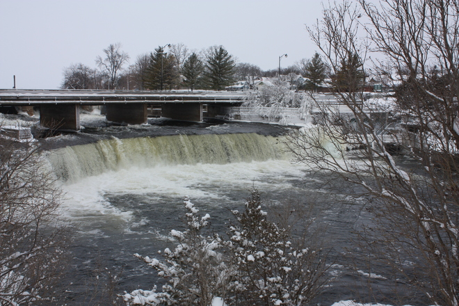 Ice and snow around the Falls Fenelon Falls, Ontario Canada