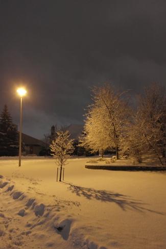 snowfall wednesday night Sudbury, Ontario Canada