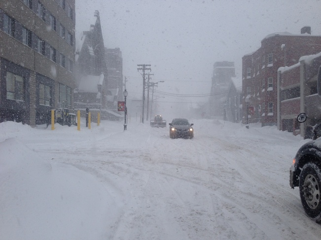 snow covered streets Moncton, New Brunswick Canada