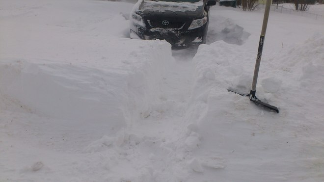 Shoveling snow in my driveway Kippens, Newfoundland and Labrador Canada