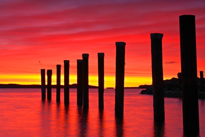 red sky Sidney, British Columbia Canada