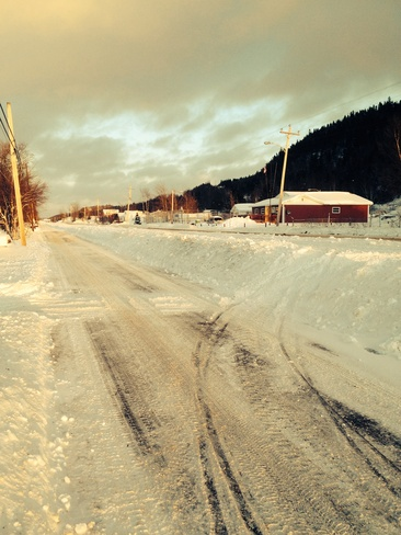 looking down road the road. Norris Arm, Newfoundland and Labrador Canada
